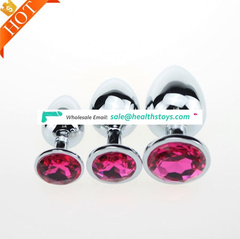 Wholesale 1pcs or 3pcs 1set Good Feedback Sex Toys Adult Vibrating Butt Plug With Crystal Jewelry Anal Sex Toys