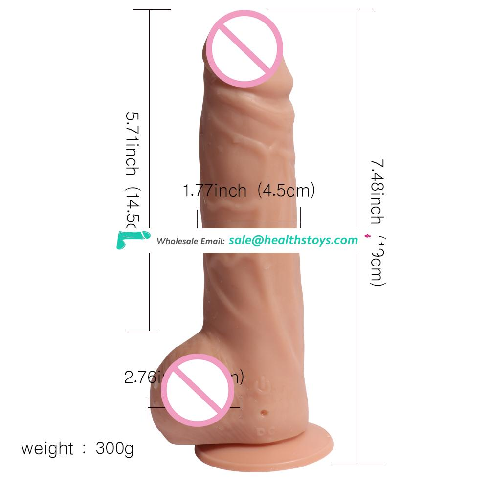 XISE factory supply 19CM high quality rechargeable dildo TPE real touch feeling realistic 20 modes dido vibrator with balls rubb