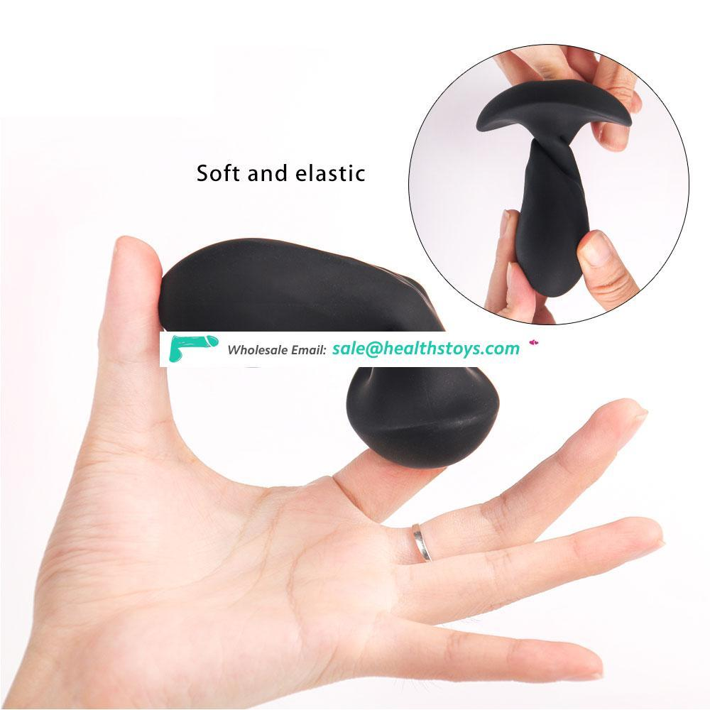 Medical Silicone Sexy Tools with 7 Speeds Vibrating Bullet Black Anal Butt Plug