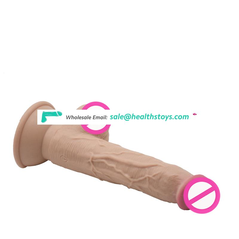 Vibrator Wagging Huge Dildo Striking & Inflating Dildo With Suction Cup