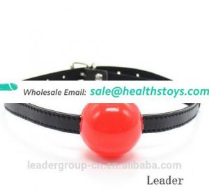 1pcs Adjustable sex slave fetish leather strap Mouth Gag with full silicone ball,adult games toys for couples