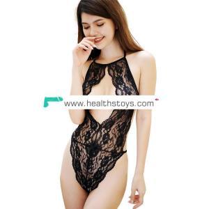 2019  black lace underwear sexy babydoll teddy lingerie show nipples