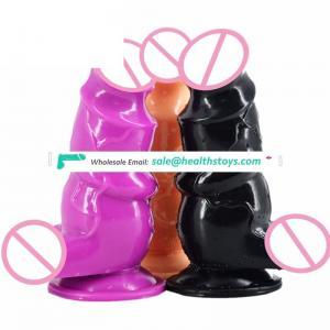 21.7*7CM-Sized Suction-Cup Dildo, Big black soft waterproof penis