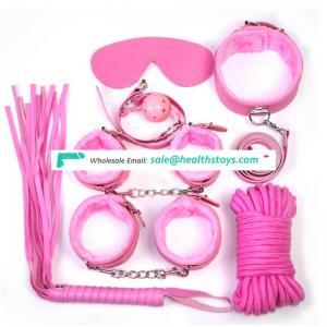 5 sets Sex Game Toys Bondage Restraints Fetish Whip Rope Blindfold Wrist Cuffs Collar Ball Gag Bdsm Bondage Set