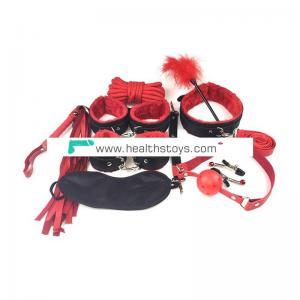 Adult Sexy Plush PU Leather 10pcs Set Handcuffs Bondage Restraint Fetish Kit Sex Toys For Couple