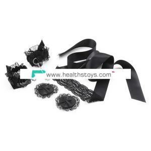 Black 3pcs Sexy Lace Slave Body Bondage Restraint Set for Adult Games