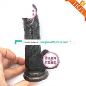 Factory huge dildo for women sex toy 3 Black Vibrating Double Headed Dildo