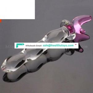 Factory wholesale custom natural crystal penis hand carved Giant Newest Glass Penis Dildo Sex Toy