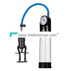 Finger Grip Pump  with Quick Release Valve Cylinder with Gauge Male Vacuum Pump Penis Extender Sex Toys Penis Enlarger