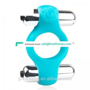 Hot Sale Two Vibrator Bullet  Cock Ring Powerful G-spot Cock Ring For Man Sex toys