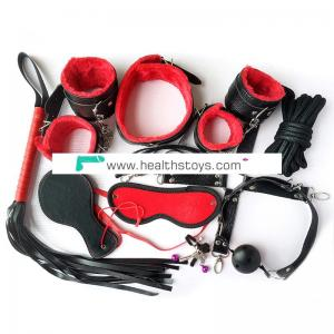 Hot Selling Sex Products Bondage Restraint  PU Leather 10 Pieces/Set Black and Red  Adult Games Items for Couples
