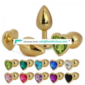 Large size heart shape metal stainless steel jewelry crystal golden anal plug sex toy for couple GS0316