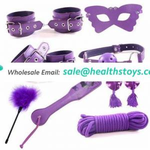PU Leather 8 Pieces/Set Handcuffs Nipple Clamp Whip Collar Erotic Adult Games Items for Couples