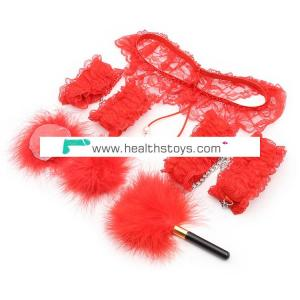 Red Sexy Lace Slave Body Restraint Set for Adult Games