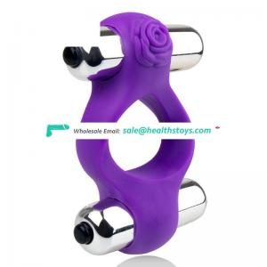 Reusable Two Bullet Vibrator Penis Ring Cock Ring For Man