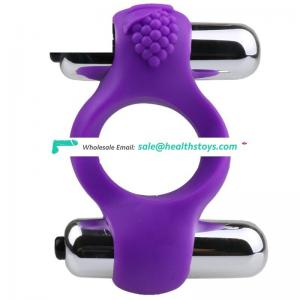 Sex Toy cock Ring Two Vibrator Silicone Vibrating Pleasure penis Ring