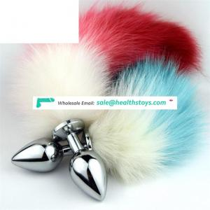 Silver Fox Tail Fun Anal Butt Plug Adult Sex Games Party Animal Roleplay Toys, 80x32mm