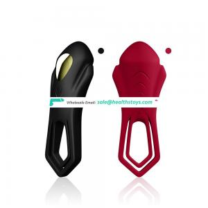 Strong vibration soft silicone rechargeable vibrating clitoris cock ring for men