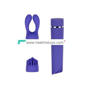Vibration replaceable head 10 frequency special handheld silicone vibrator kit