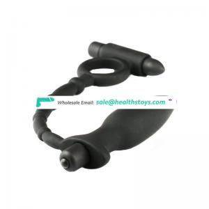 2017 hot new products silicone double vibrating bullet vibrator anal plug vibrating cock ring penis