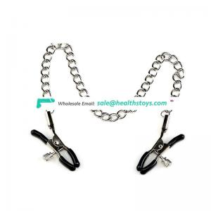 2018 sext steel bondage sex toy nipple clamps with chain