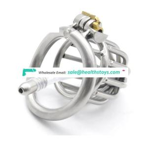 304 Stainless Steel Bondage Cock Cage Chastity Device with Stealth lock Curved Ring Sex Toy