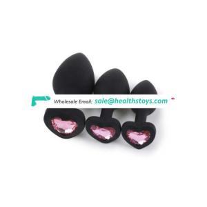 3PCS Anal Beads Crystal Jewelry Heart Butt Plug Stimulator Toys Silicone Anal Plug