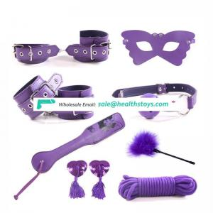 8 PCS Purple beauty PU Leather nipple cover male wearing bondage restraints