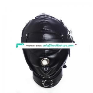Adult Bondage Sex Mask Leather Hood with Lock