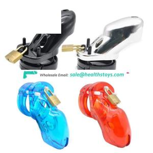 Adult SM Toys Plastic Male Chastity Cage Penis Lock with or without Barbed Anti-off Ring