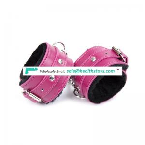 Bondage Restraints Pink PU Leather & Furry Sex Toy Handcuffs SM Toy Adult