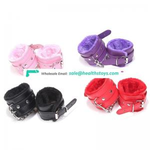 Factory Customized soft cheap novelty design plush leather sex handcuffs and anklecuffs