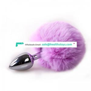 Factory Wholesale Lovely Rabbit Tail furry butt plug Stainless Steel Metal anal Plug sex toys for woman adult game