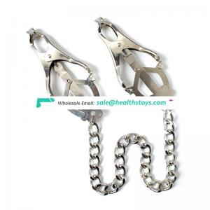 Factory Wholesale stainless steel Nipple Clamp with long chain,Gay sex toys breast stainless steel clmap