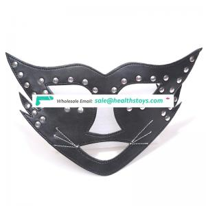 Factory wholesale PU Simple Fashion Design Leather Halloween Masquerade Christmas Party Black Cosplay Mask