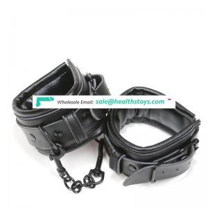 Genuine leather soft cotton inside hard chain bdsm bondage slave leather cuff