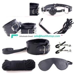 High Quality 8PCS PU Leather plush sex bondage set,SM Restraints Sex Toy for Adult Game