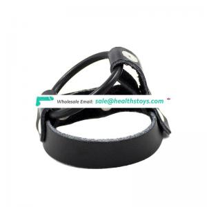 Leather Material Male Bondage Cock Ring Belt Men Chastity Cage Device