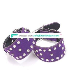 MUQU Sex Leather Handcuffs and Leather sex Anklecuffs ,Sexy Rhinestone Suede Handcuffs /AnkleCuffs for couple game