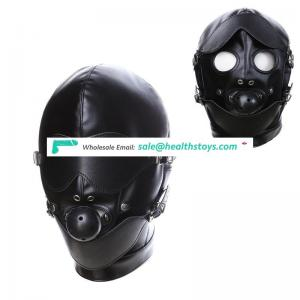 Male Bondage Leather Head Hood Harness with Ball Gag Cheap Sex Toys