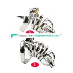Male Metal Chastity Belt Stainless Steel Penis Cage Cock Sex Toys with Penis Plug