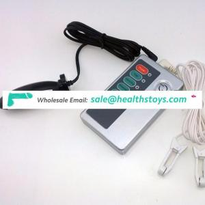 Medical themed electric shock anal plug with nipple clamps butt plug Gspot prostate massager electro sex toys