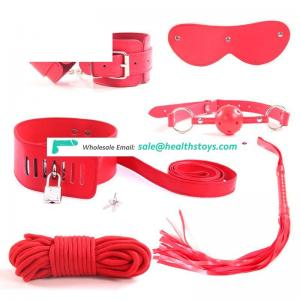 New Chinese Red Leather 6PCS bondage SET with lock,SM Restraints Sex Toy for Adult Game
