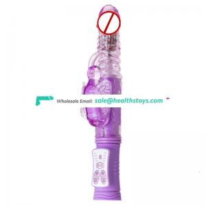 OEM Purple Pink Rechargeable TPR 8 Functions Move Up And Down Thrusting USB Charger Rabbit Vibrator