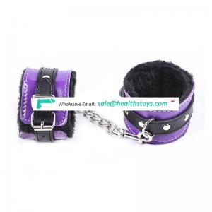 Purple & Black PU Leather Furry Sex Porn Handcuffs Adult Toy