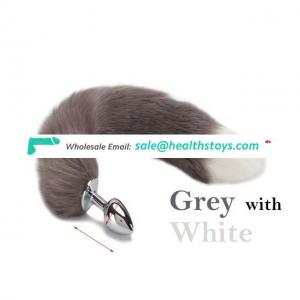 S M L  Metal Patchwork Faux Fox Tail Anal Plug Stainless Steel Butt Plug Tail Sex Toys for Women Sex Products