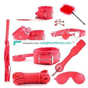 Sex Shop 10 PCS leather bdsm bondage restraint slaves kit Hot toys set for couples bed game