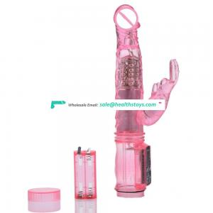 Silicone vibrators jelly head rotation rabbit vibrator