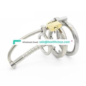 Stainless Steel Bondage Male Chastity Cage Teeth Ring with Urethral Tube