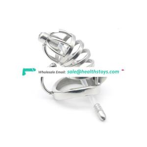 Stainless Steel Chastity Cage Lock with Penis Plug